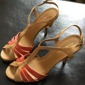 BCBG Sz 8.5 Coral nude Slingback Leather Sandals